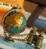 @特价@欧美时尚复古全球地球仪项链 时尚项饰毛衣链