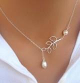 厂家直销 欧美风时尚个性树叶珍珠水滴十字架项链 锁骨链