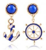 欧美风品牌时尚质感蓝白海军风船锚耳钉耳扣清新个性夸张耳环