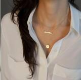 欧美外贸饰品时尚风范几何形金属亮片多层短裤项链颈链