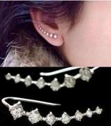 韩国时尚耳环一排7钻镶水钻星星耳钉耳夹耳环