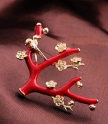 速卖通欧美时尚 树枝 红色喜庆  胸针