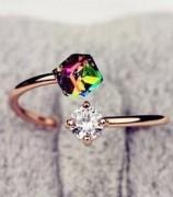 韩国情人节礼物 彩钻 玫瑰金 复古锆石 戒指 韩国 潮人 女士戒指