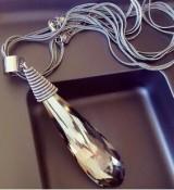 新款韩国时尚女士高档个性大水滴水晶长款装饰项链毛衣链