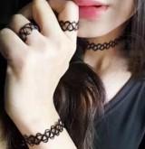 欧美复古饰品镂空纹身编织鱼线 弹力混搭项链项圈手链戒指