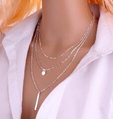 欧美外贸饰品 外网热销新款 铜珠链 亮片 金属条多层项链 速卖通款