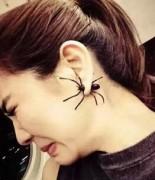 欧美朋克街头帅气个性另类黑色蜘蛛前后带耳钉 速卖通 新款韩国搞怪