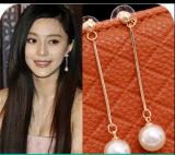 韩国饰品 OL气质 镀金 长款珍珠耳环耳钉耳饰