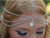 欧美热销时尚发链 简单气质双层流苏水滴宝石发带头链头带额头链 明星头饰