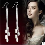 速卖通爆款纯银耳环耳坠 女款新品 长款韩国时尚流苏耳饰品耳夹耳挂