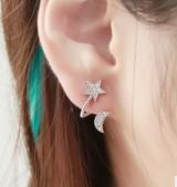 韩国水钻耳饰品 时尚精美百搭耳钉 五角星星爱心月亮 耳夹耳环 女 【一对价格】