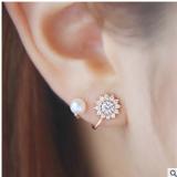 韩国 同步水钻耳饰 时尚精美满钻雪花 甜美珍珠耳钉耳夹耳扣女【一对价格】