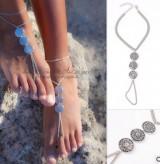 欧美外贸饰品 时尚波西米 复古雕纹金属ID连指脚链