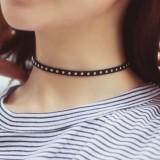 韩国 可爱波西米亚 个性铆钉烫钉绒面革 颈带项链颈链项圈