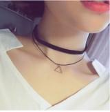 韩国双层三角形简约装饰项链女锁骨链脖子链颈链项圈韩国颈带饰品