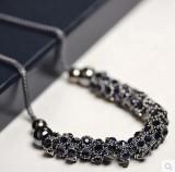 耐迪精品枪黑圆型多配件宝石蓝满钻项链