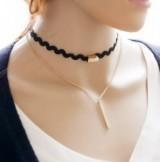 长铁条双层-原宿颈链脖链蕾丝项链颈带项圈女毛衣链锁骨链朋克项链【竖条款】
