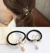 韩国唯美百搭铁丝镂空花朵发圈 精致简约珍珠水钻皮筋