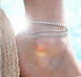 欧美外贸热销脚饰 新款夏季热款街拍多层金属链条圆珠链闪钻脚链