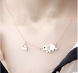 速卖通货源 水晶元素家庭时尚珠宝大小2大象项链 义乌饰品批发