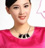 (卡包)韩版饰品 时尚黑白大宝石 镶钻短款项链 锁骨链 吊坠