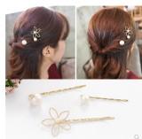 韩国小发饰品镂空五瓣花珍珠三件套一字夹发夹边夹顶夹批发