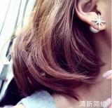 韩国女耳钉 微镶锆石 耳饰 APM雪花米字珍珠两用耳钉 耳环