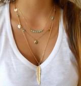 欧美外贸手工饰品 简约绿松石珠亮片多层叶项链 速卖通热卖款