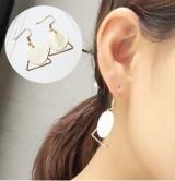 韩国风饰品天然贝壳耳环三角形圆形叠加简约设计女士耳饰批发