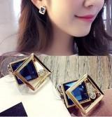 方水晶百搭珍珠时尚气质长款韩国韩国耳饰耳环耳钉