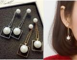 日韩国长款淑女珍珠方形耳环 甜美气质优雅流苏珍珠耳钉