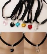 日系绒带颈链日本原宿复古欧美心形水晶吊坠蕾丝黑色桃心项链速卖通款