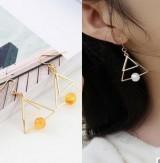 极简复古韩国气质金双三角形珍珠多层设计感耳钉耳环耳饰