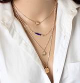 速卖通欧美时尚大牌气质锁骨链高档爱心金币饰品防过敏