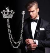 男士皇冠胸针 英伦风西装链条别针徽章复古女胸花