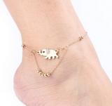 吉祥小象双层足链 金色大象镶钻脚链手链