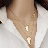 欧美时尚气质百搭项链简约多层三角金属衣服配饰项链毛衣链锁骨链