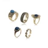 波西米亚波浪蓝宝石套装戒指 民族风祥云圆圈五件套指环