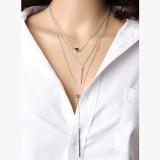 欧美外贸新品饰品 简约3层项链 小圆点精致金属棒项饰 吊棒项链