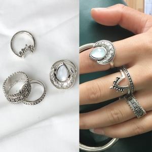 欧美波西米亚复古蛋白石雕花月亮尾戒调节关节戒吉普赛四件套戒指