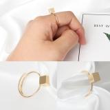 欧美简约几何方块可调节戒指女指环指戒 潮人饰品