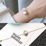 日韩设计复古手链转运珠手镯天然石大理石纹圆珠女极简手饰