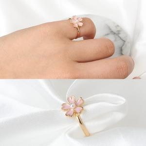 日系清新文艺 粉紫色樱花珍珠 耳钉 耳夹 戒指