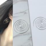 圆圈圈银饰银旋转耳挂 环状多层耳钉 欧美风朋克夜店女耳环