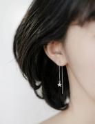 长款几何五角星正方形三角形耳线长款百搭气质流苏耳环耳钉