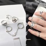 欧美外贸速卖通韩国复古松石串联宝石链条5件套套装戒指尾戒