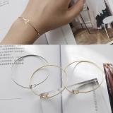 韩国饰品设计镀金几何三角圆圈珍珠手镯简约气质手环手链女首饰