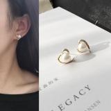 韩国桃心爱心珍珠简约光面耳环耳钉耳饰女