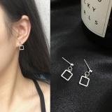 个性简约几何正方形光面韩国耳环耳钉耳饰男女
