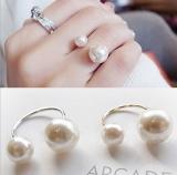 @特价@韩国正品手饰品 U形开口可调节大小珍珠戒指 优雅淑女款式